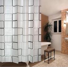 4 tamanhos peva cortina de chuveiro com gancho 6 Modern preto e branco espessamento à prova d'água impressa cegos cortinas de banho à prova d'água(China (Mainland))