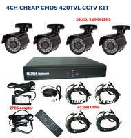FREE SHIPPING Cheap CCTV Security 420TVL 4CH DVR IR Camera System Color Video Surveillance DIY Kit CCTV camera kit with HDMI