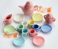 Dolls Toys For Girls Lot of 15PCS Porcelain Coffee Tea Lid Pot Cups Set Dollhouse Miniature Furniture