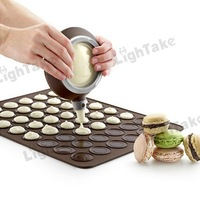 Hot sale Food-grade Silicone Macaron Mould Kit with Decorative Nozzle Tool and Baking Mat - Coffee
