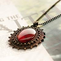 Fashion Vintage Royal Noble Necklace Bronze Color Black Red  Hot &Restore Ancient Ways Bohemian Amber Necklace Precious Stones