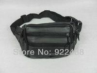 FreeShipping Classic Black Men's Leather Waist Packs Bag Fanny Pack Adjustable Belt Purse