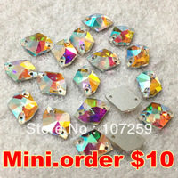 Mini.Order $10,Sew on Rhinestonesl 11x14mm,14x17mm,16x21mm,21x27mm crystal AB color Cosmic shape Sew on button bling crystal