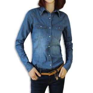 Fashion slim waist denim shirt women's short design water wash shirt plus size ...