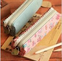 2013 New vintage dots flower lace series pencil bag/pencil pouch/pen bag/cotton bag/wholesale /Free shipping