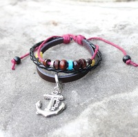 2013 new design anchor leather bracelet for women free shipping 24pcs/lot
