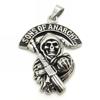 Wholesale Top selling Death Pendant Men Silver Mysterious Sons Of Anarchy Skull Pendant Chain Necklace Stainless Steel Jewelry