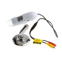 25x 400X 8LED AV Digital Microscope Endoscope Magnifier Camera TV-Out White 2MP AV Magnification Measure software  #108b