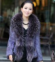 New 2013 Fashion Fur Coats plus size Real Fur Coats Women Rabbit fur coat with Raccoon Collar Outerwear & Coats free shipping