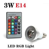 E14 3W RGB 16 Color Changing  LED Light Bulb Lamp AC85V~265V + IR Remote Control free shipping