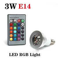 E14 3W RGB 16 Color Changing  LED Light Bulb Lamp AC85V~265V + IR Remote Control free shipping