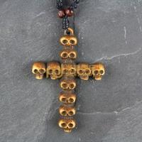 12pcs Free Shipping Indian Jewelry Bone Necklace Classic Unisex Style Pendant Skeleton Cross N0224