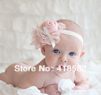 new  Kids' Hair Accessories Baby Chiffon Rose Flower Pearl Headbands Baby Girl Floral Hair Ornaments Shining Headwear