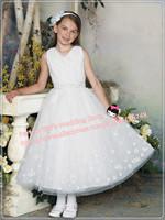 Free Shipping!2013 New A-line Flower Girl Dress V-neck Large Organza Flower First Communion Elegant Wedding Party Dress