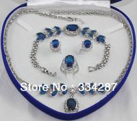 Bridal wedding Jewelry Silver GP Aquamarine/sapphire/ruby/amethys/emerald/ P CZ Crystal   Jewelry Set