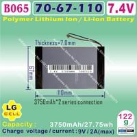[L102] 7.4V,7600mAH,[7067110] PLIB (polymer lithium ion battery/LG cell) Li-ion battery for tablet pc,onda,cube,ainol,ampe,SANEI