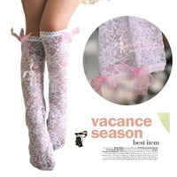 10pairs/lot Baby girl lace socks printing flower socks knee high socks with bowknot White/Beige
