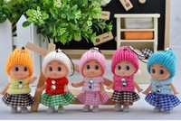 Dolls Doll Cell phone accessories clown doll pendant key chain Plaid skirt baby Clown doll   Wedding Favor
