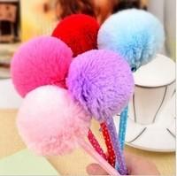Free shipping cute plush ball pen stationery bow plush pen school supplies M071
