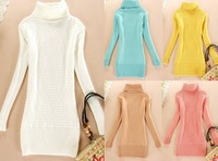 Medium-long basic shirt thickening chinese knot turn-down collar turtleneck sweater