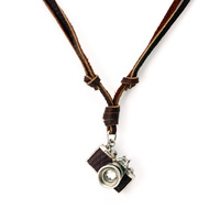 Free Shipping, 2014 Vintage Genuine Leather Necklace Adjustable Size with Cute Camera Charms Sweater Chain Unisex Men Women