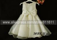 Wholesale (5 pcs/lot) 4 Colors 2015 New Pearl Collar Big Bow Party Ball Dress Sizes: 0 1 2 3 4 (9m-36m)