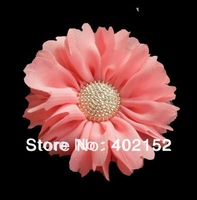 fashion wholesale 120pc 2.5inch artifical chiffon fabric flower headband flower with button for baby hair headband DIY accessory