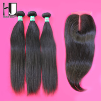 Lace Closure With Bundles Brazilian Virgin Straight Hair 1 PCS Lace Closure with 3Pcs Hair Bundle,4pcs/lot, Free shipping by DHL