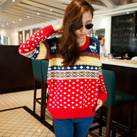 Free shipping 2014 women's o-neck dimond plaid christmas deer multicolour long-sleeve pullover winter sweater