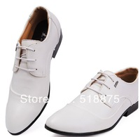 New men low help British han edition soft crust leather shoes with black and white shoes wedding date of men's shoes