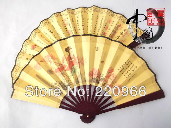 [China National Arts and crafts]Free Shipping 200pcs/lot Chinese Style Beauties Folding Fan Hand Handmade Chinese Silk Bamboo(China (Mainland))