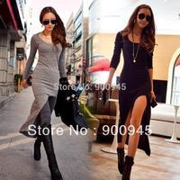 Hot Long Sleeve Slim Irregular Asymmetric Sexy Maxi Women's Long Split Dress Black Gray Dresses Free Shipping # L0341400