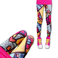 2014 New Fashion Sexy Graffiti Print Girls Women Leggings Pants Personality Slim Ankle Trousers #L03367