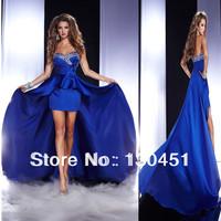 blue sweetheart ruffled high low dress crystal long short front long back prom dresses beaded chiffon