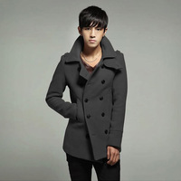 Big New Fashion Men Wool Coat Short Style Winter Warm Jacket Spring Outerwear pea Coat MW28-1 6 colors Freeshipping Spring