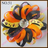 free shipping 32pcs flower loopy bows new loopy flower clips mix color baby hair bow