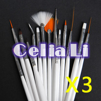 Free Shipping 3 Sets of 15pcs White Nail Art Acrylic Gel Tips Design Painting Drawing Pen Polish Brush Set Kit 1173