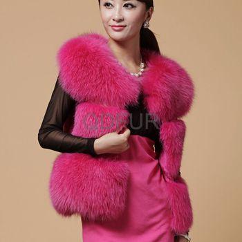 Luxury Women's Genuine Fox Fur Vest Female Winter Slim Waistcoat Vest Free Shipping QD27921