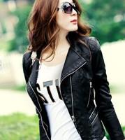 Free shipping women Leather jacket 2014 autumn slim leather coat PU motorcycle jacket ladies army green leather jacket coat