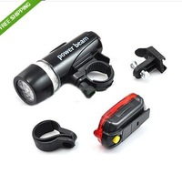 FREE SHIPPING LED Bike Bicycle Waterproof Head Light and Rear Flashlight