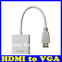Free shipping HDMI to VGA Converter Cable HDMI to VGA Adapter Male To Female 1080p White