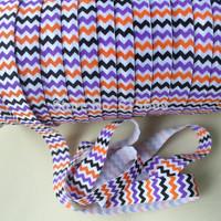"""Super quality & eco-friendly elastic hair tie chevron foe  prints 5/8""""   Foe Ribbon 100yards/roll free shipping"""