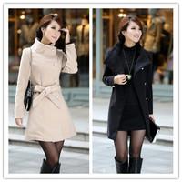 Free shipping New  2013 Fashion autumn -summer coat  Women Wool single-breasted Long Coat,Gray/black/white,S / M / L /XL