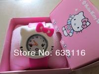 1pcs/lot free shipping hot sale cartoon hello kitty silicone kids students clap watch+box girls boys children sports wrist watch