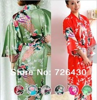 Free Shipping Women Silk Satin Sleepwear Stylish Peacock Printed Robe Gown Kimono Bathrobe Night Clothes Pajama