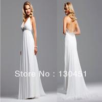 white deep v neck sexy backless party dresses chiffon spaghetti strap beaded empire celebrity evening dress 2013 new