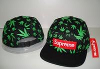 2013 new black green leaf brand 5 panel baseball strapback hats and caps for men sport hip pop cap mens fashion cheap sun hat