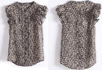 2013 high quality leopard print chiffon shirt leopard print short-sleeve ruffle sleeve female top with tag 800 Free shipping