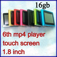 6th mp4 player 16GB 1.8inch touch screen G-sensor FM radio 6generation mp4 player +earphone + usb cable + crystal box 400pcs/lot
