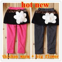retail  new 2013 autumn winter pantskirts for baby girls skirt leggings child warm big flower stretch hose trouser kids aged 1-4